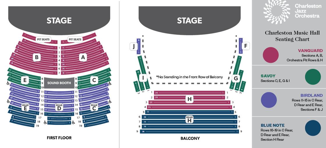 Charleston Music Hall Seat Map